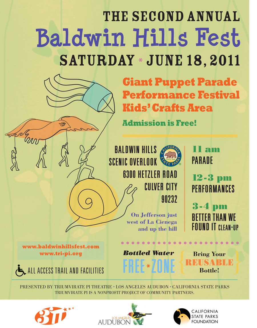 Poster for the Baldwin Hills Fest, a drawing of a hawk puppet and snail puppet with rolling grass and cityscape.