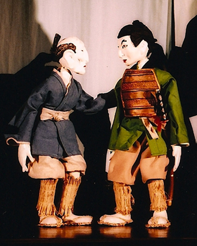 Table-top bunraku puppets of the farmer and his son